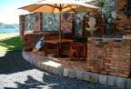 Brick BBQ/wetbar/dining area